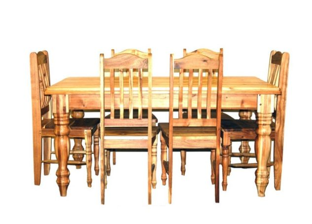 Table With Chairs 6-seater Turned Leg
